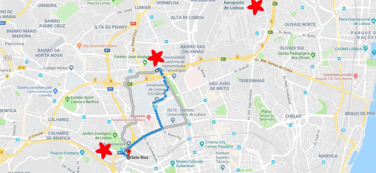 Mappa di Lisbona - Aeroporto e stazioni bus