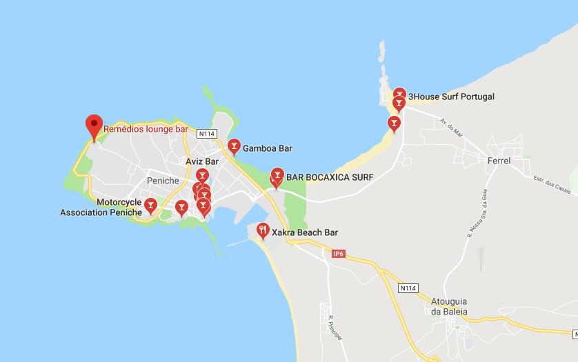 Mappa Locali della vita notturna a peniche