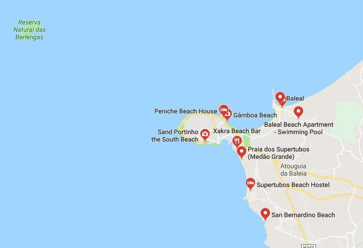 Dove sono le migliori spiagge di Peniche - Mappa