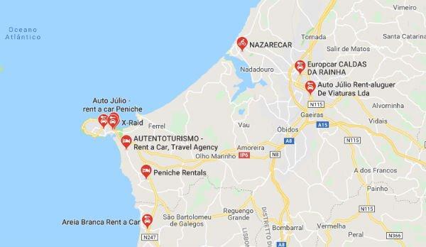 Mappa Noleggio Auto a Peniche