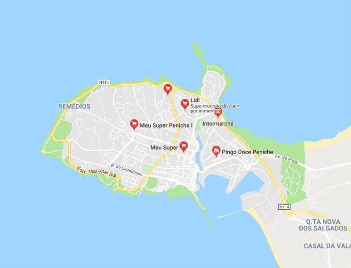 Mappa dei supermercati a Peniche