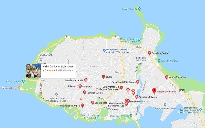 Mappa delle pasticcerie a Peniche