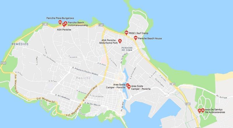 Mappa - Aree di sosta camper a Peniche