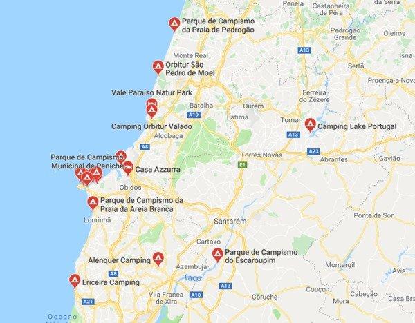 Mappa Campeggi Peniche