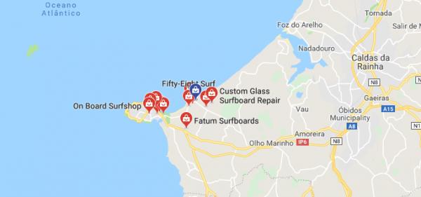 Mappa Surfshop Peniche