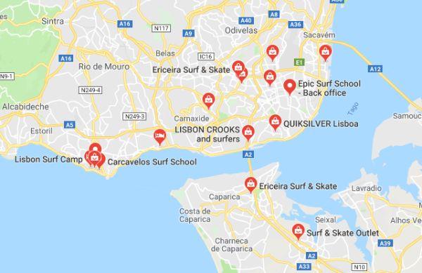Mappa Surf Shop Lisbona