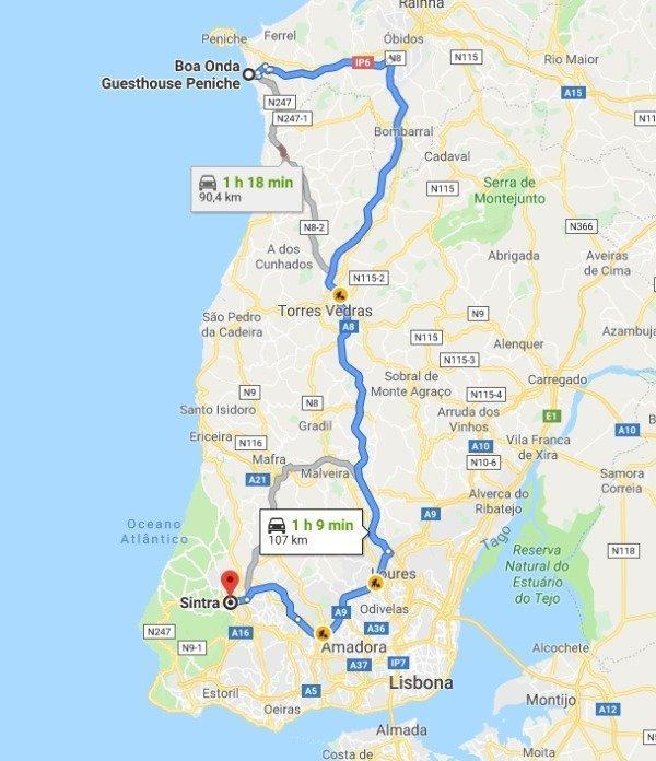 mappa stradale peniche - sintra
