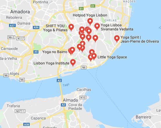 Mappa Centri Yoga Lisbona