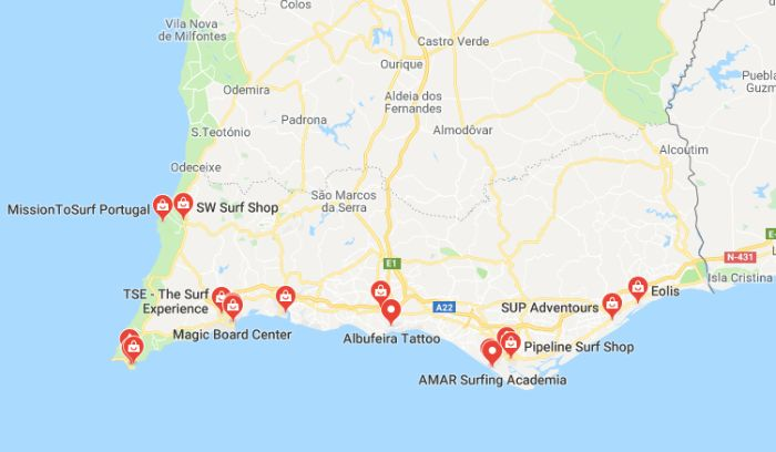 Mappa Surf Shop a Faro