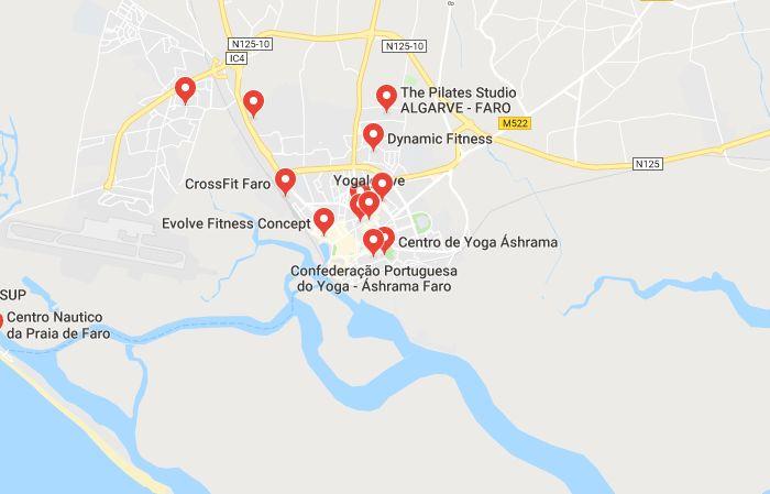 Mappa Scuole Yoga a Faro