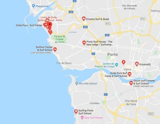 Mappa delle scuole di surf a Porto