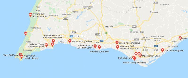 Mappa scuole di surf a Faro