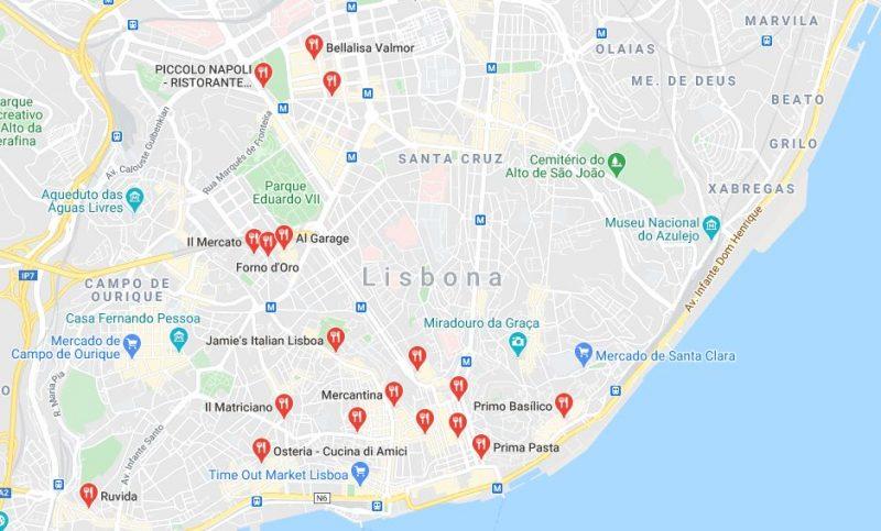 Mappa dei ristoranti italiani a Lisbona