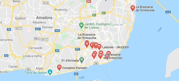 Mappa dei ristoranti francesi a Lisbona