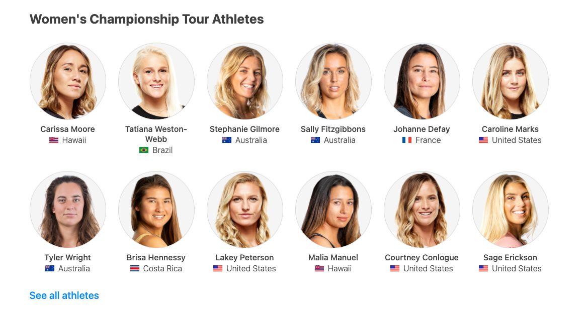 Chi sono le surfiste donne della World Surf League