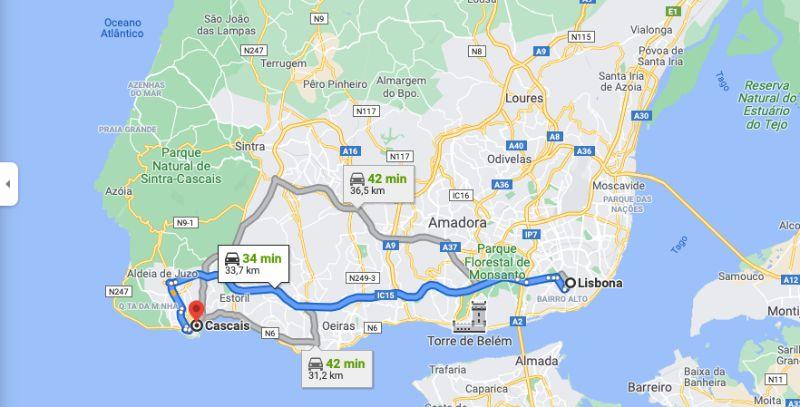 Mappa - Come raggiungere Cascais da Lisbona