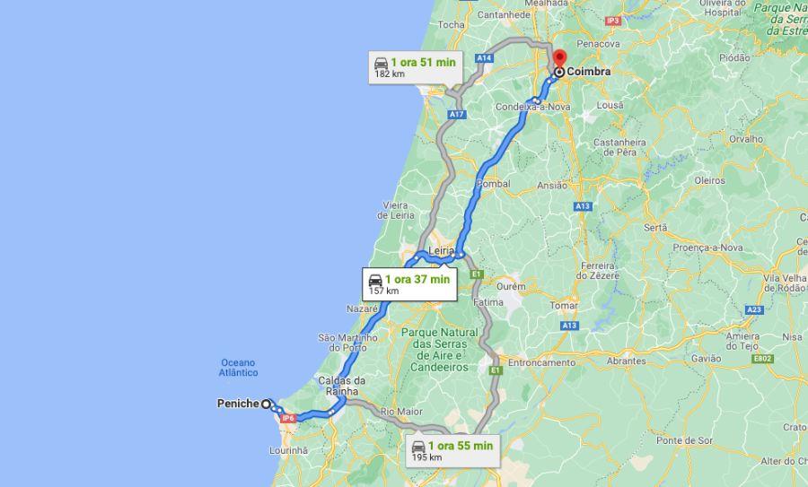 Mappa Itinerario - Peniche Coimbra